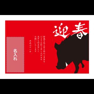 年賀状印刷デザインテンプレート : 2046
